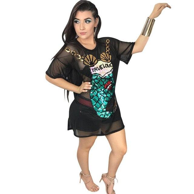 e69d36a1052 2018 Sexy Mermaid Mesh Sheer T Shirt Dress Women O-Neck See Through Short  Sleeve Loose Sequin Casual Summer Beach Dress Clubwear