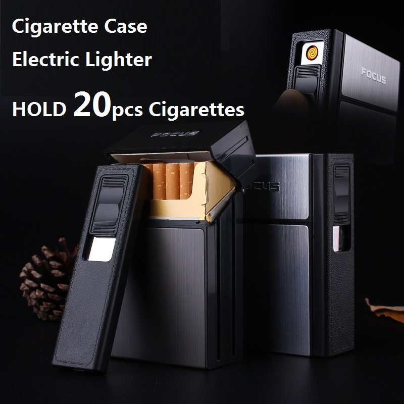 FOCUS Cigarette Case Box Lighter with Flameless Removable Electronic Lighter Windproof Torch Lighter 20pcs Cigarette Holder Case
