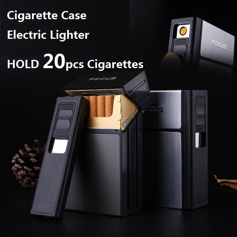 FOKUS Zigarettenetui Box Feuerzeug mit Flammenlose Abnehmbare Elektronische Leichter Winddicht Fackel Leichter 20 stücke Zigarettenspitze Fall