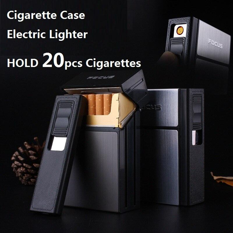 Focus caja de cigarrillo encendedor con llama extraíble viento electrónico antorcha encendedor 20 unids cigarrillo titular caso