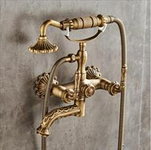 Bathtub Faucet Wall Mounted Antique Bronze Carved Bathtub Faucet With Hand Shower Bathroom Bath Shower Faucets Torneiras