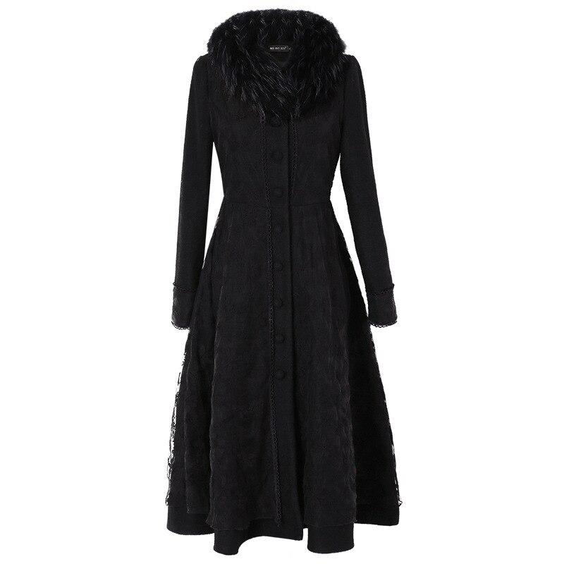 Ultra Femme Et Réel D'hiver Col Laine De Manteau Nouveau Black Broderie Mode Automne Noir Long Mince Dentelle Pardessus Outwear Fourrure ATFnqnW6