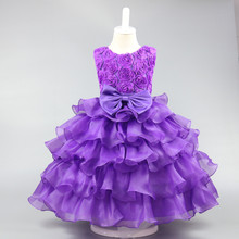 купить 2017 summer Fashion Children's dress Rose bowknot princess wedding dresses Girls birthday party for 3 4 5 6 7 8 9 10 years old по цене 1065.55 рублей