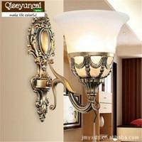 Qiseyuncai 2017 neue einzel antike bronze wandleuchten bed room corridor glasschirm spiegel beleuchtung