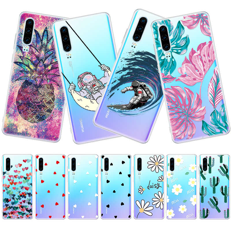 Astronaut Universe Clear Printed Phone Case For Huawei Honor 8X 10 Mate 10 20 Lite P30 P20 Pro TPU Silicone Cover Fundas Shell