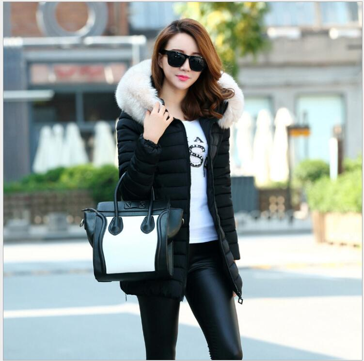 2017 Winter new fashion big collar collar Slim down jacket Korean version of the long section of pure color cotton jacket 2017 winter version of the new south korean edition of cotton dress short dress and a large size cotton padded jacket