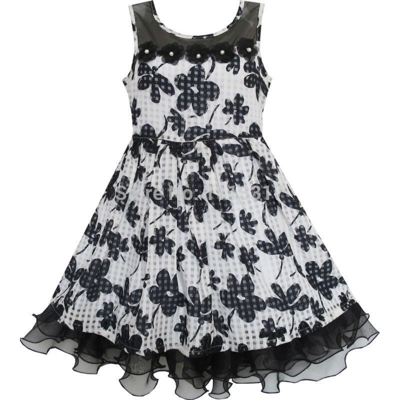 Dívky šaty krajky tylu květ transparentní ramena černá 2019 letní princezna svatební party šaty velikost 7-14