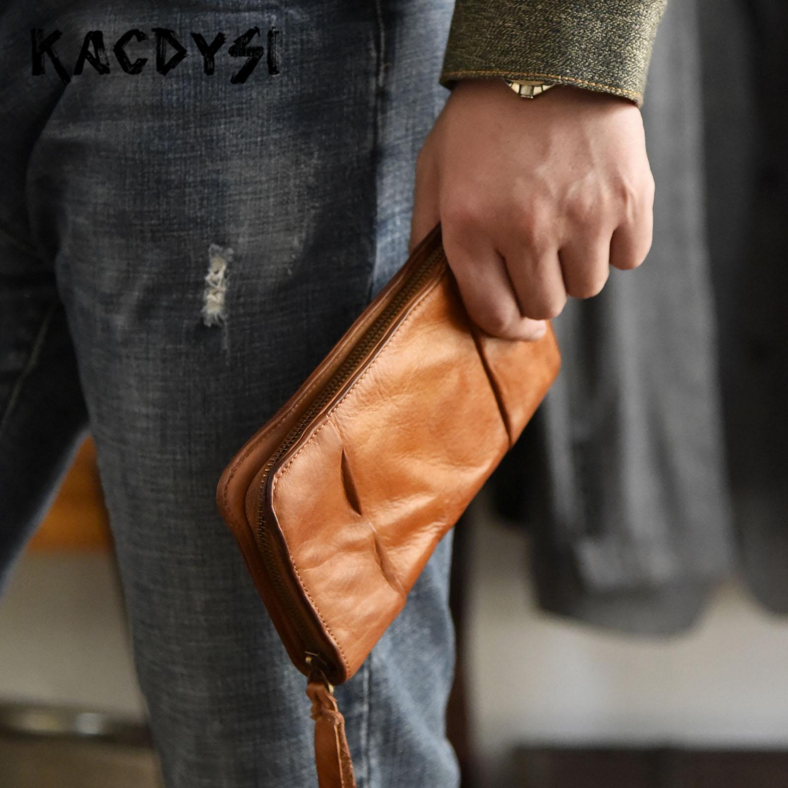 Famous Vintage Large Men Wallets Zipper Genuine Leather Luxury Man Organizer Wallet Quality Male Clutch Purse