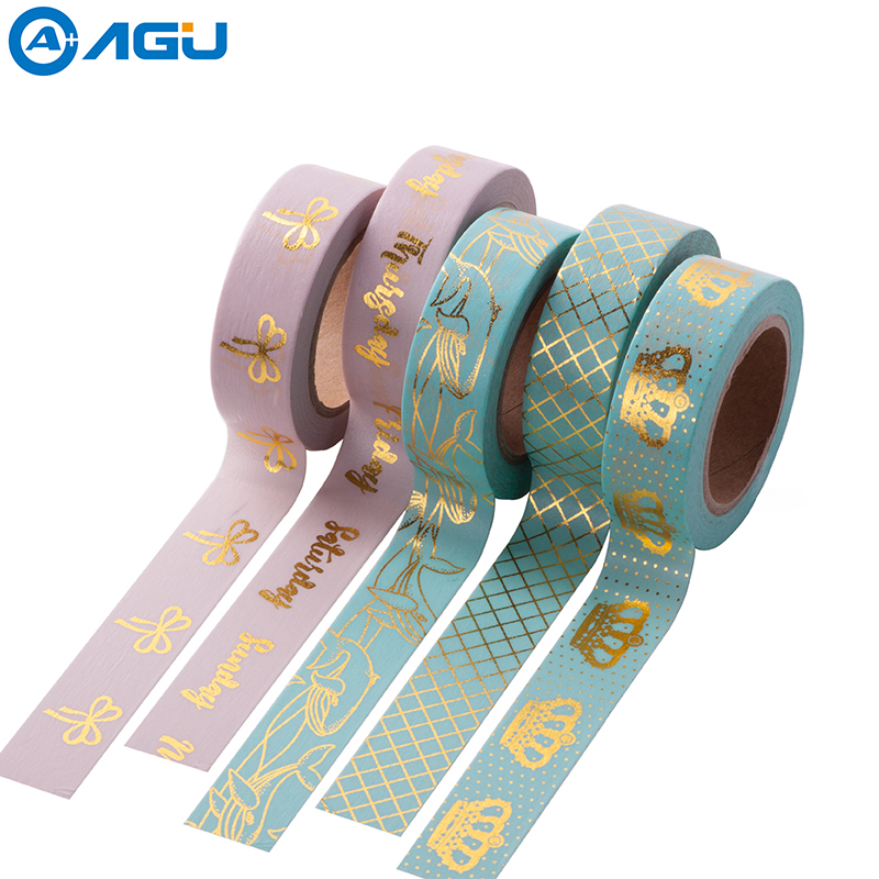 AAGU Free Shipping 15mm*10m Colorful Foil Washi Tape High Viscosity Adhesive Tape Fresh Designs Paper Tape For Scrapbooking free shipping washi tape anrich washi tape date pencil bike colorful customizable 6599 6605 6856 6863