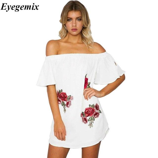 Женщины лето slash шеи с плеча sexy dress вышивка цветочные свободные женщины пляж dress белый женщины повседневная dress плюс размер 3XL