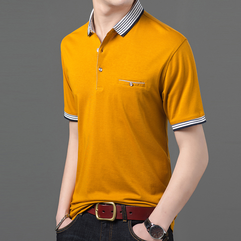 2019 New Fashion Brands Summer Polo Shirt Mens Spandex Top Grade Short Sleeve Slim Fit Solid Color Poloshirt Casual Men Clothing
