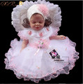 Baby girl Baptism Christening Gown wedding dresses Newborn formal dress sets Headband +Rendering clothing+dress+Bracelets+shoes