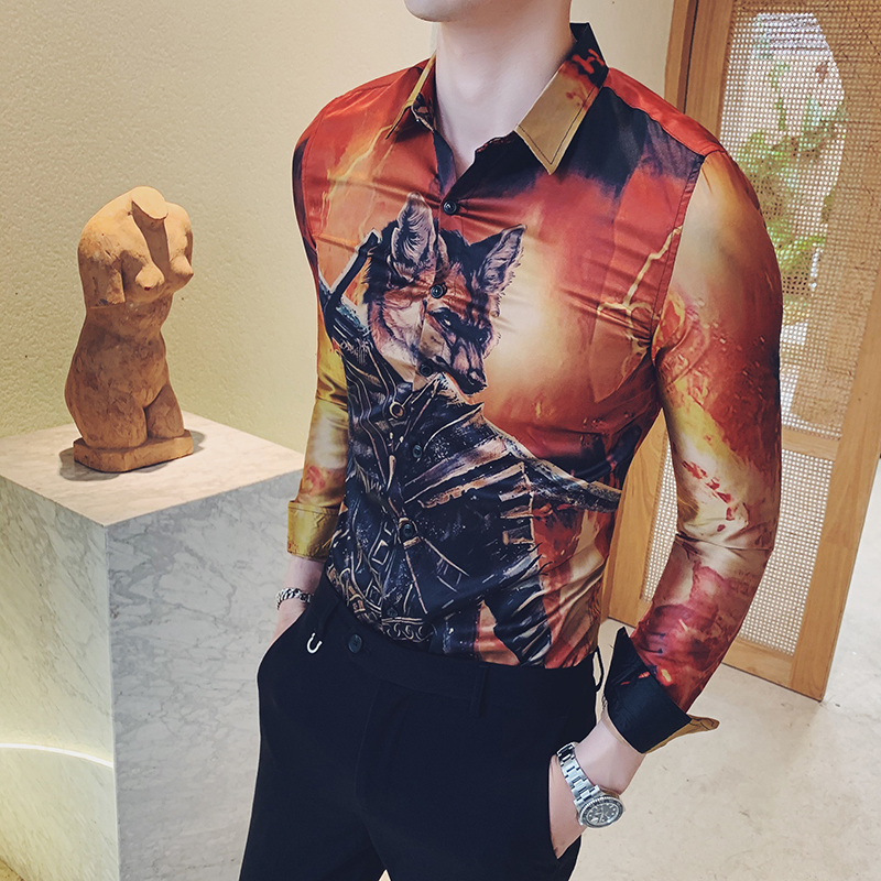 2019 Autumn Men Shirt Long Sleeve Shirts Designer High Quality Casual Slim Fit Shirts Men Dress Tuxedo Shirts Streetwear Camisa in Casual Shirts from Men 39 s Clothing