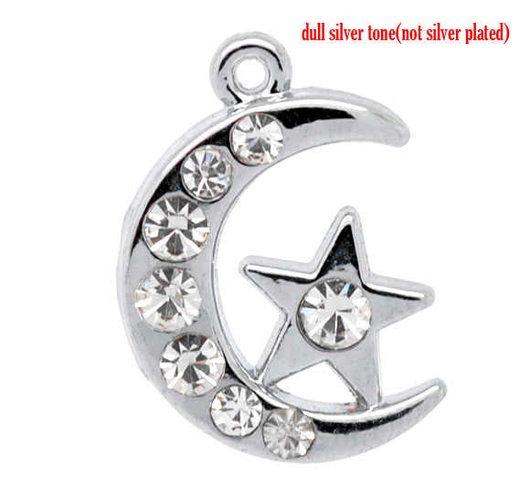 Zinc Metal Alloy + Rhinestone Charm Pendants Moon Silver Tone Star Pattern White Rhinestone 20mmx14mm,1 Pc new