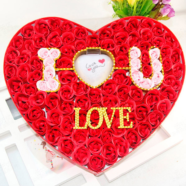 red rose soap heart shaped 100 pcs with led deco i love you romantic