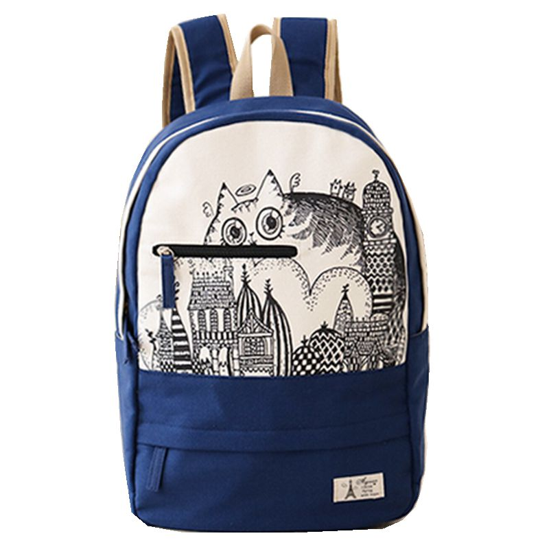 2016 New Fashion Women Backpack Canvas Bag High Quality Cute Printing Cat Backpack School Bags for Girls Free Drop Shipping 2016 18 inch cute cat printing backpack women school bags for teenage girls fashion men travel bags good quality