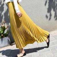 a5ebaf03f6dba2 2019 Summer New Arrival Korean Style Ankle Length Long Pleated Skirt  Elegant Chiffon Skirt Office Skirts