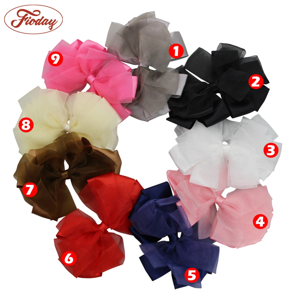 1Pcs 5.5 inch Big Floral Hairbow Clip Fashion Organza Cute Girls Hair Bow Hairpins Hair Clip Headwear Hair Accessories for Women декор azulev basilea beige circulo 47x47