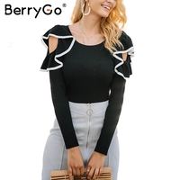 BerryGo Ruffle Round Neck Knitted Sweater Women Pull Knit Casual Winter Sweater Female Jumper 2017 Autumn