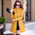 2016 new coat Women Korean Slim leather jacket single-breasted long  jacket Windbreaker
