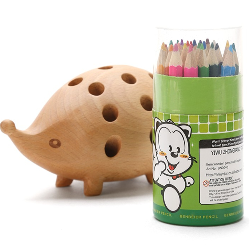 Creative Wooden Beech Pen Holder Hedgehog Shape with 24 Art Colored Pen