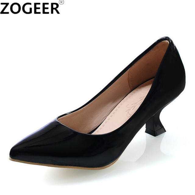 Zogeer New Casual Medium Heels Women Pumps Sweet Candy Color Black Red Pink White Wedding Shoes