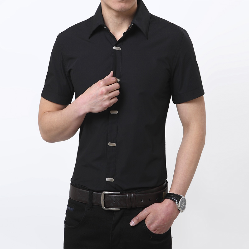 Mens black shirts short sleeves is shirt for Short sleeved shirts for men