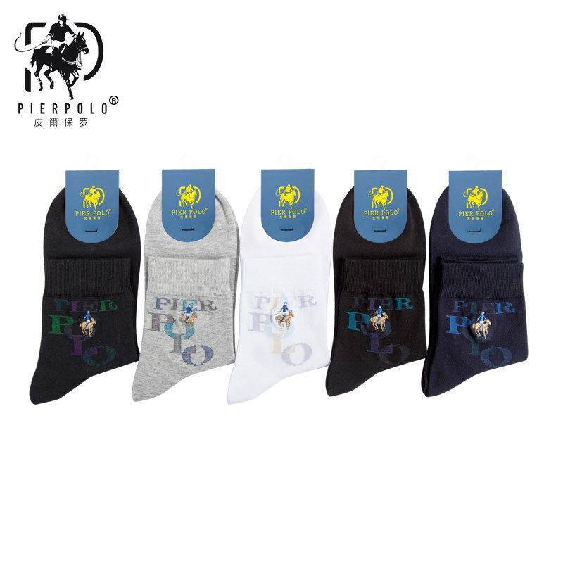 2018 Real Casual Mens Socks Pier Polo Autumn And Winter New Fine Embroidery Men Socks Cotton Business 220-pin Combed Wholesale
