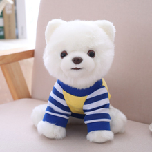 Adorable Dog Plush Toy Pure White Blue Stripe T-shirt Dressed Pomeranian Doggy Stuffed Animal Pets Toy 25cm Little Kids Gift