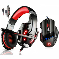 KOTION EACH Gaming Headset Deep Bass Stereo Headphone with Mic LED Light+7 Buttons 5500 DPI USB Gaming Mouse Game Mice for Gamer