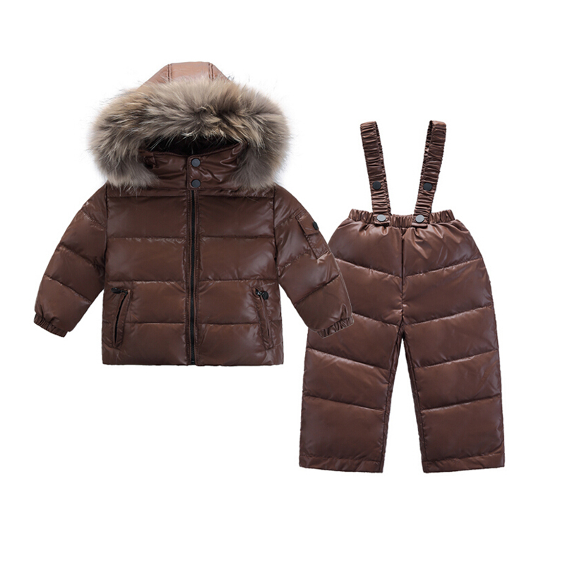 Russie hiver enfants vêtements ensemble-20 degrés filles doudoune manteau + salopette costume garçons Snowsuit 2-6 ans enfants vêtements