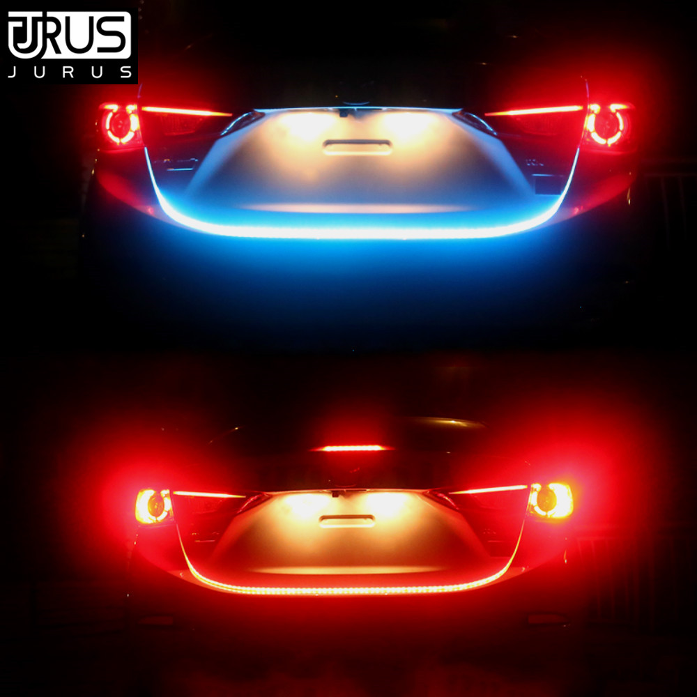 JURUS Car Styling Turn Signal Amber Flow Car LED strip trunk Tail Light Ice Blue RGB DRL daytime running light RED Brake Light