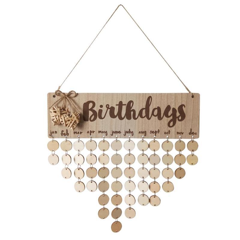 Wooden Birthday Reminder Calendar Board Home Decoration Wall Plaque Sign DIY