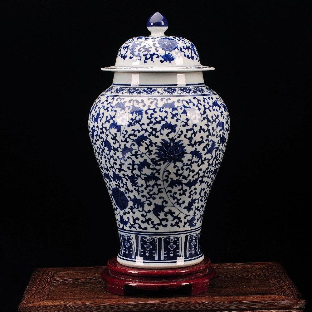 Borcanele de ghimbir floral din porțelan, vopsite manual, albastru - Decoratiune interioara