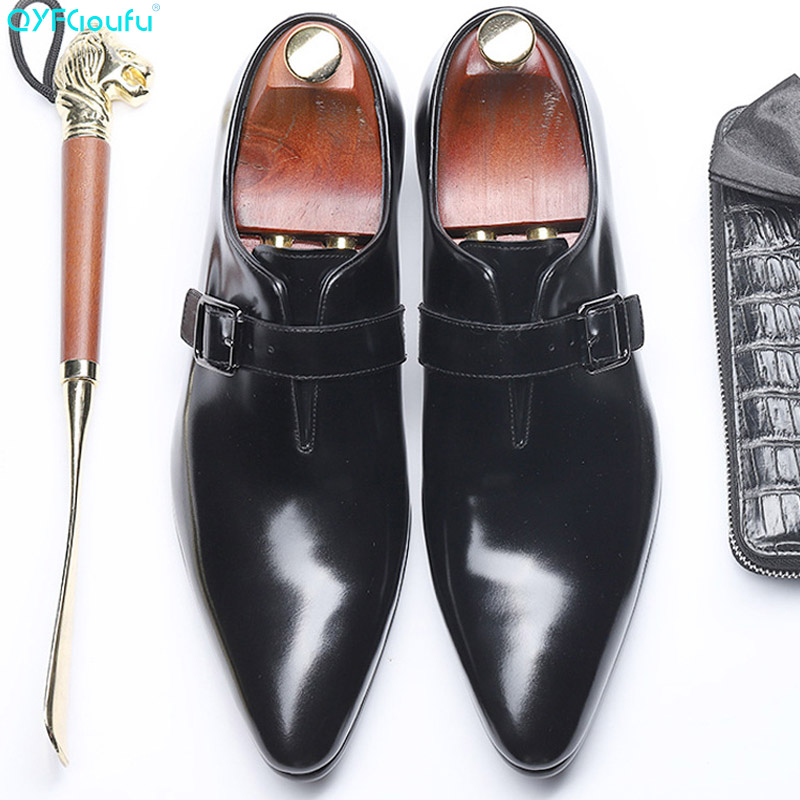 QYFCIOUFU 2019 Handmade Business mens dress shoes Office Wedding Party formal Genuine Leather Mens Monk Dress Shoes