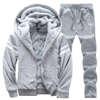 Casual survêtements hommes ensemble à capuche epaissir polaire Hoodies + survêtement 2019 hiver printemps sweat Sportswear homme lettre imprimer