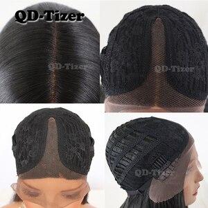 Image 5 - QD Tizer 블랙 컬러 롱 스트레이트 헤어 레이스 프론트 가발 Gluless 내열성 합성 레이스 프론트 가발 for Black Women