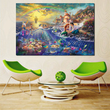 The Little Mermaid By Thomas Kinkade Canvas Painting Print Living Room Home Decor Modern Wall Art Oil Poster Pictures