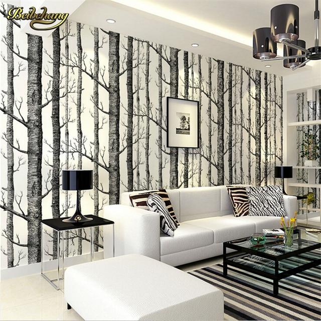 Beibehang birke wald moderne tapete plain wald design schwarz weiß ...