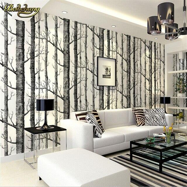 Moderne tapete schwarz  Beibehang birke wald moderne tapete plain wald design schwarz weiß ...