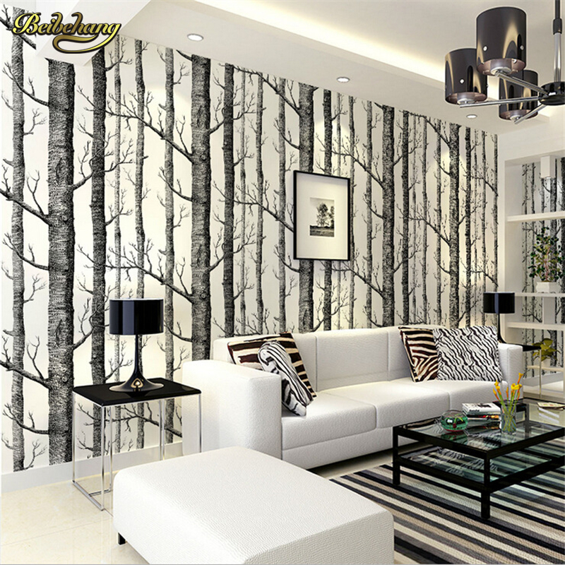 beibehang Birch tree woods modern wallpaper plain forest design black white wall paper for living room Bedroom Sofa Background