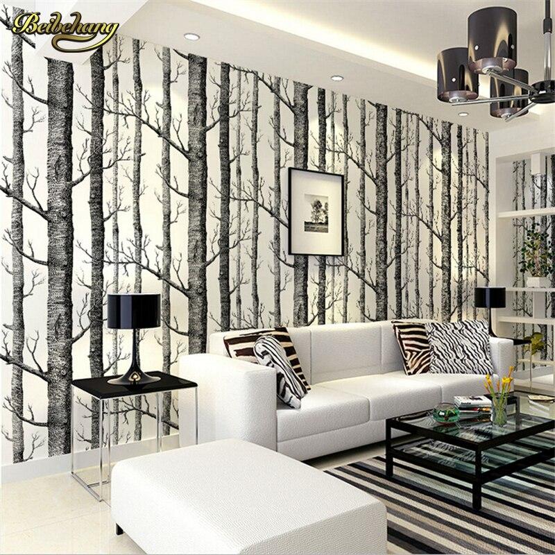 Beibehang Birch Tree Woods Modern Wallpaper Plain Forest Design Black White Wall Paper For Living Room