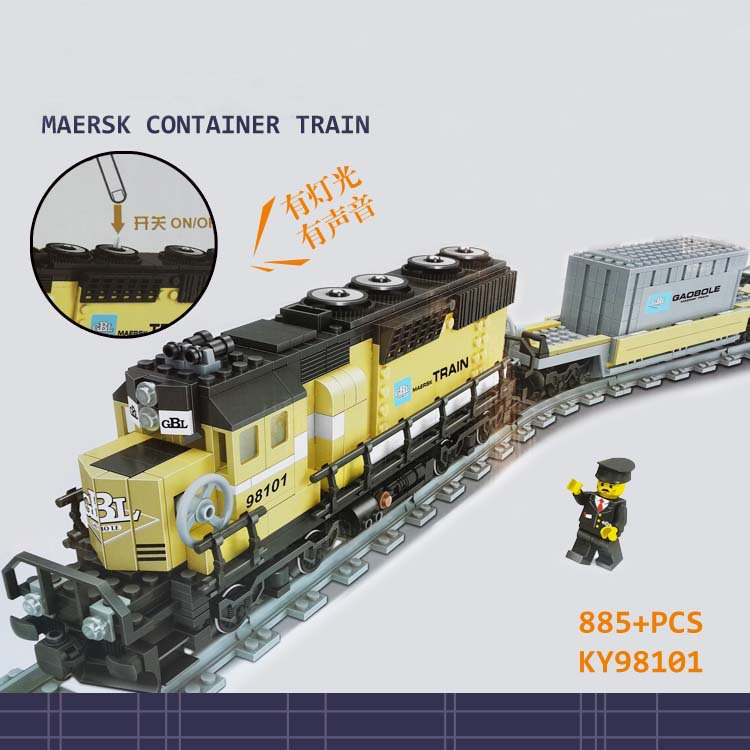 KAZI 2018 New GBL Battery Powered Electric Steam Container Train Building Block Toy Kids Bricks Toys for children brinquedos