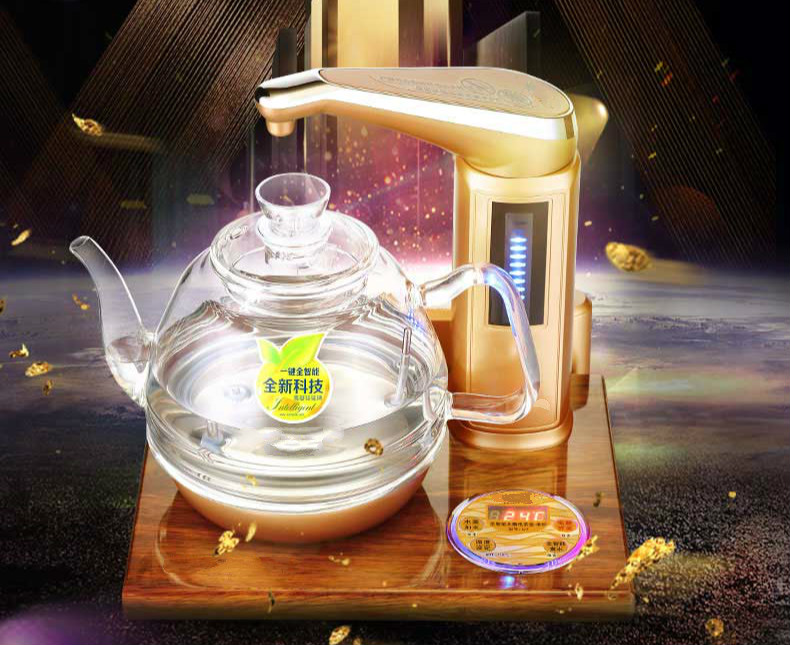 Full intelligent electric teapot golden pear wood base fully automatic water kettle Safety Auto-Off Function full intelligent water purifier edition automatic electric kettle