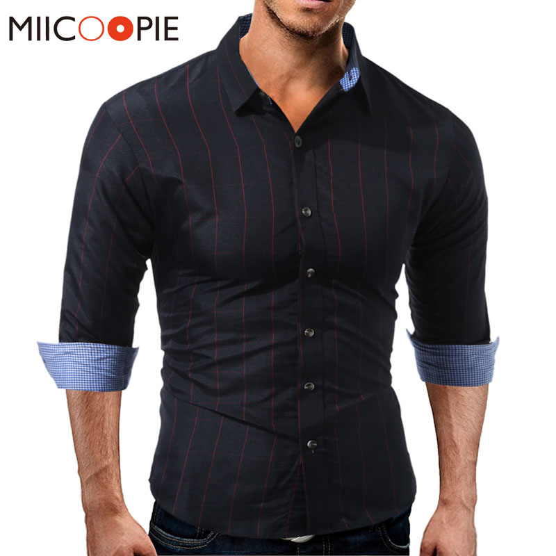 New Spring Fashion Men Shirts Slim Fit Mens Dress Plaid Shirts Social Casual Shirt Men Brand Work Wear Formal Chemise Homme XXXL