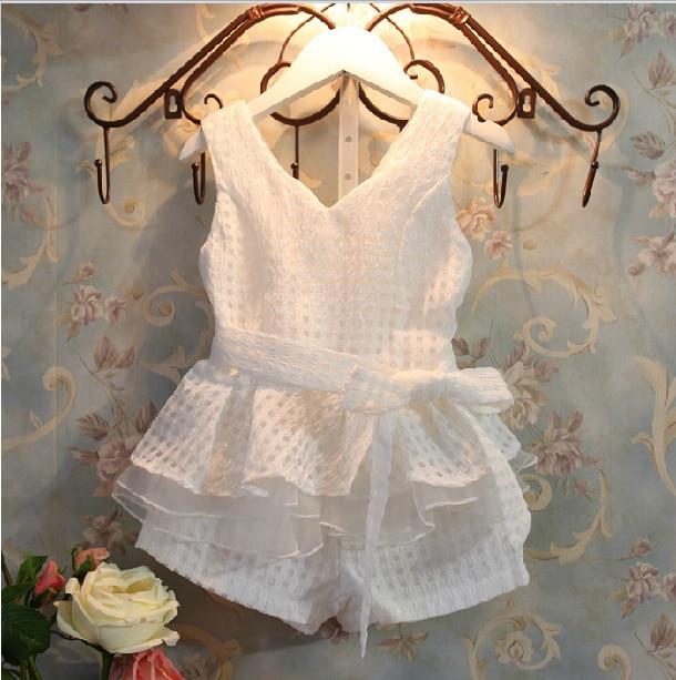Bosudhsou V1 envío gratis Venta al por mayor Nueva ropa de las muchachas Chalecos de los niños de la manera del verano fijados traje 2 ~ 6 años Ropa de los niños