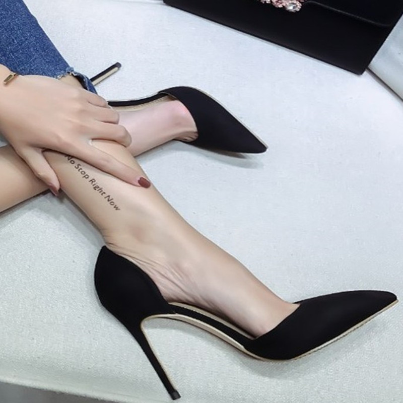 Sexy Pointed Toe Women Pumps Stiletto Super 10cm Thin High Heels Kid Suede Slip On Women Office Dress Shoes Chaussures Femme