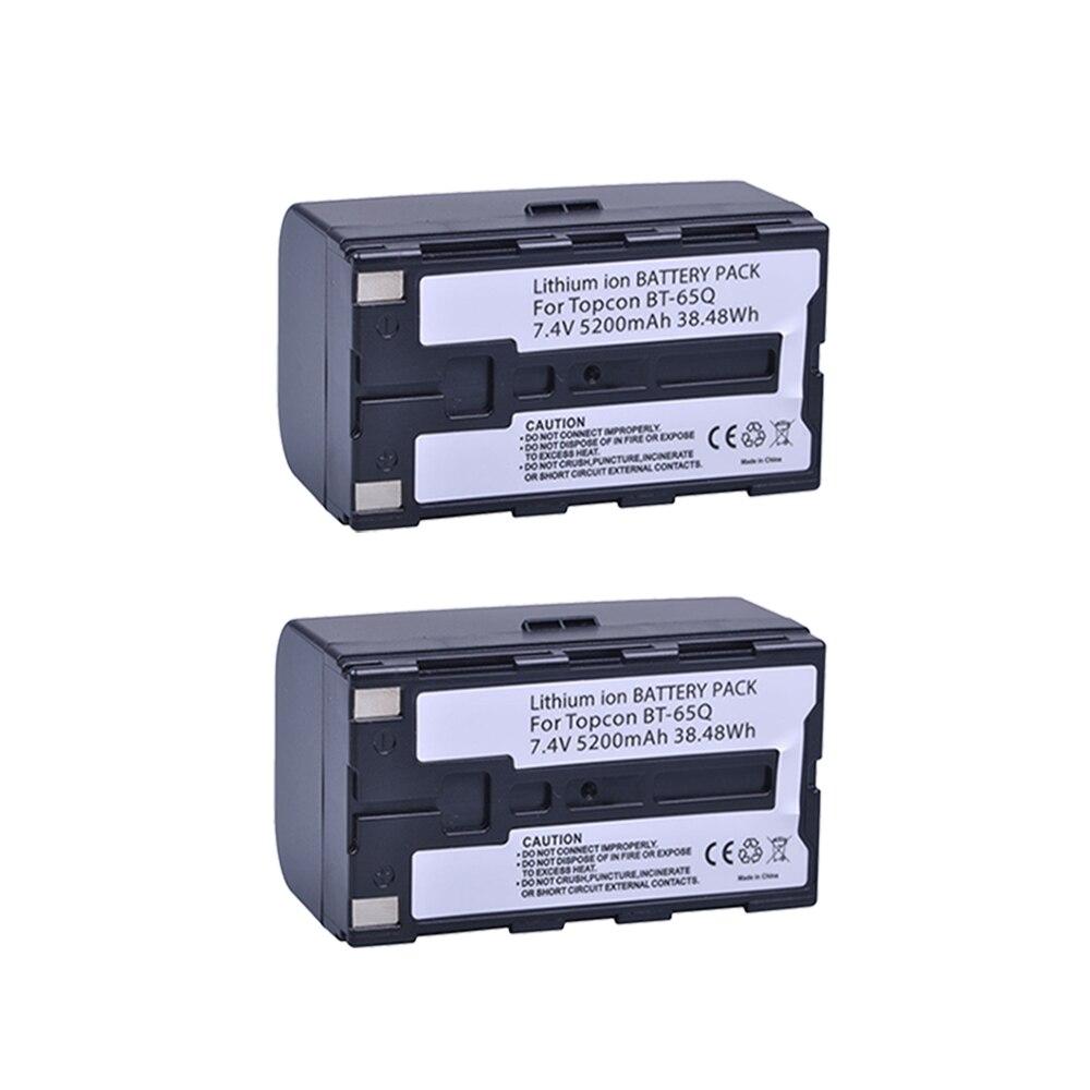 Batmax 2 pcs 5200 mAh BT-65Q BT 65Q Substituição Bateria Li-ion Bateria para Estação Total Topcon GTS 900 e GPT 9000