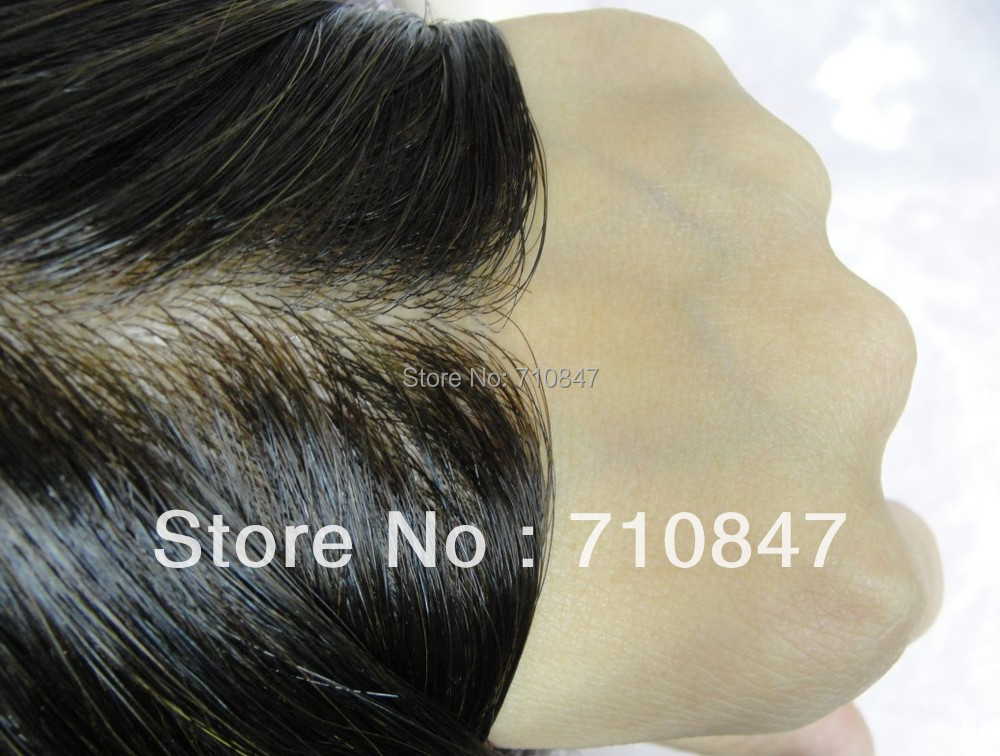 Thin skin injected men toupee color 1b size 8x10inch men wig replacement system Peruca free shipping