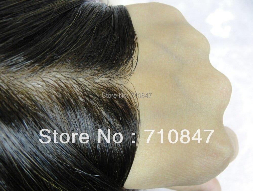 Pelle sottile iniettata uomini toupee uomini parrucca di colore 1b dimensioni 8x10 pollice/sostituzione, sistema, Peruca trasporto libero